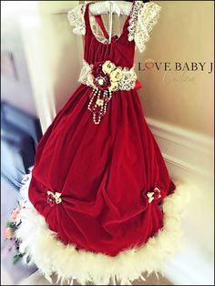 Scarlett... A Scrumptious Red Velvet Gown - $198.00 :: Love Baby J Boutique - Welcome to Love Baby J Couture - Boutique Clothing For Girls