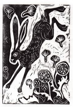 Hare Linocut I found this on Folksy. I love it!