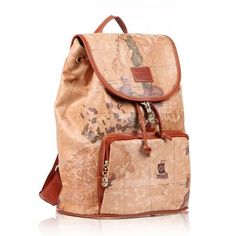 Womens World Map Leather Backpack Travel Bag