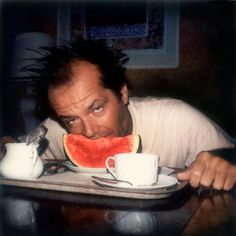 Jack Nicholson eating watermelon and melon, ca. 1970s