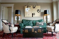 Ugly green couch makes the room gorgeous!!! Lesson learned ... all things can be made beautiful