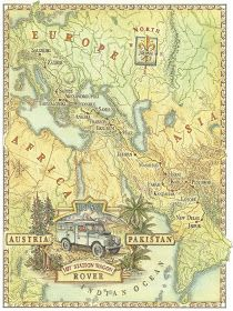 Dave Stevenson map  for University of Chicago alumni magazine illustrating a road trip from Austria to Pakistan
