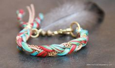 SEAWEED FRIENDSHIP BRACELET, woven string, Greek leather cord and chain with a cruelty free feather