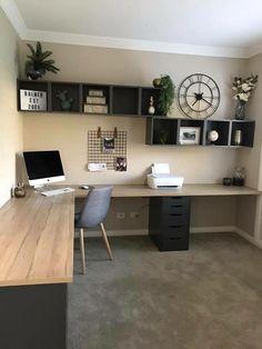 That desk design. That desk design. Related posts: That desk design. Best Two Person Desk Design Ideas for Your Home Office Workspace 21 Awesome DIY Desk Organizers, die das Beste aus Ihrem Büro machen …. Mesa Home Office, Home Office Space, Office Room Ideas, Diy Office Desk, Diy Desk, Bedroom Office, Basement Office, Bedroom Desk, Modern Office Decor