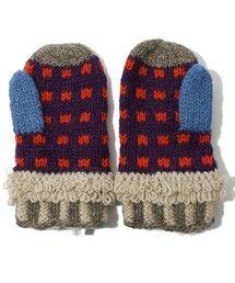 POUDOUDOU(プードゥドゥ)の手編み幾何柄ミトン(手袋)|詳細画像
