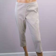 6faa08b04dc STYLE  amp  CO Womens Slacks Capri Crop Pants Stretch Rayon Spandex Sz M  Oatmeal