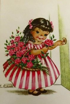 Vintage Birthday Cards, Vintage Greeting Cards, Ephemera, Eve, Little Girls, Disney Characters, Fictional Characters, Holidays, Dolls