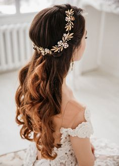 Gold leaf headband Bridal Flower Crown Bohemian Headpiece Bridal halo Wedding Headband W Wedding Headband, Bridal Hair Vine, Bridal Crown, Bridal Updo, Wedding Hair Down, Wedding Hair Flowers, Bridal Flowers, Floral Wedding, Peach Flowers