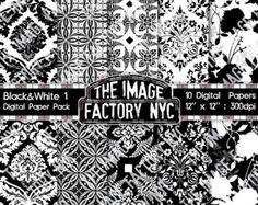 Damas et noir & blanc Vintage Wallpaper inspirent papier numérique Pack Collection-Télécharger et imprimer (BWPP-TIFNYC-1)
