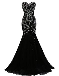 Dresstells® Long Mermaid Prom Dress Corset Back Tulle Evening Gowns with Beads Black Size 2 Dresstells