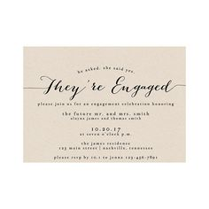 """Brides.com: Festive (and Affordable) Engagement Party Invitations """"Bailey"""" printable engagement party invitation, $15 for digital download, How Lovely PaperPhoto: Courtesy of How Lovely Paper"""