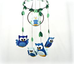 Owl mobile  You pick your colors  woodland by LullabyMobiles