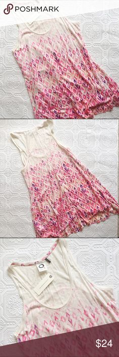 "NWT Anthropologie Caicos Tank Top Brand new with tags Anthropologie Akemi + Kin brand Caicos tank top! It is flowy and long enough that it could be a tunic - 28.5"" from shoulder to hem. Very pretty pink, coral, and purple pattern on a cream background. I have two available, both size small. Rayon and linen blend. Anthropologie Tops"