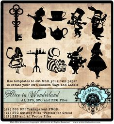 Alice in Wonderland Vectors Cameo Silhouette by withwildabandon