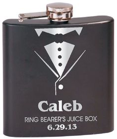 """OMG!!  Ring Bearer's """"Juice Box"""" Tuxedo Flask. This is too funny"""