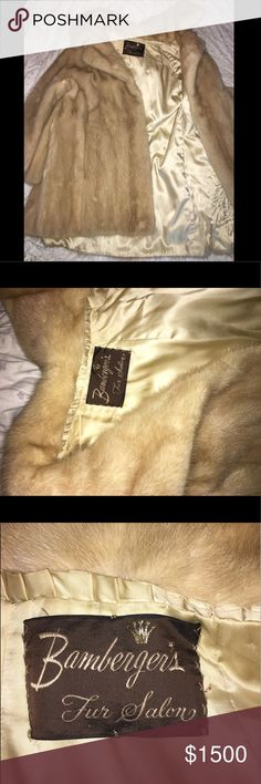 Fur mink coat authentic Fur mink coat authentic Bamberger's fur salon brand new Cream colored alittle lighter then the first picture Fits a small medium and large Rebecca Minkoff Jackets & Coats