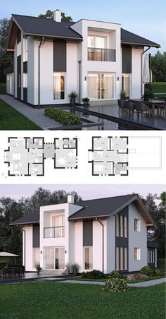 house design with office extension & saddle roof Architecture with gable -. Modern house design with office extension & saddle roof Architecture with gable -. Modern house design with office extension & saddle roof Architecture with gable -. Roof Architecture, Classic Architecture, Modern House Plans, Modern House Design, Casas The Sims 4, Gable Roof, Gable House, Prefabricated Houses, Sims House