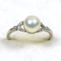 Art Deco Pearl and Diamond Ring - Very Pretty (Love as a 'Special' ; ) Ring!) £1195