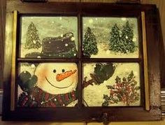 snowmen Old Window Crafts Country Christmas, All Things Christmas, Christmas Fun, Christmas Decorations, Old Window Crafts, Old Window Projects, Snowman Crafts, Christmas Projects, Holiday Crafts
