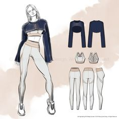 I designed this Spring 2019 collection dedicated to Alo Yoga because like many others out there, I've been a fan of its activewear for quite a while. Alo Yoga's aesthetic… Illustration Mode, Fashion Illustration Sketches, Fashion Sketchbook, Fashion Design Sketches, Drawing Fashion, Design Illustrations, Yoga Fashion, Sport Fashion, Fitness Fashion