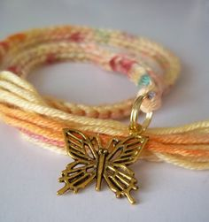 book thong bookmark with gold tone metal charm  ~ butterfly ~