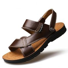 b5a4ee3fa25657 Merkmak 2017 New Summer Men Beach Sandals Genuine Leather Casual Shoes  Vacation Slippers Mens Comfort Soft Flat Sandal Shoes