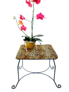 Vtg Hollywood Regency Leopard & Metal Vanity Bench || 1950's Pin-Up Glamour Style by ElectricMarigold on Etsy