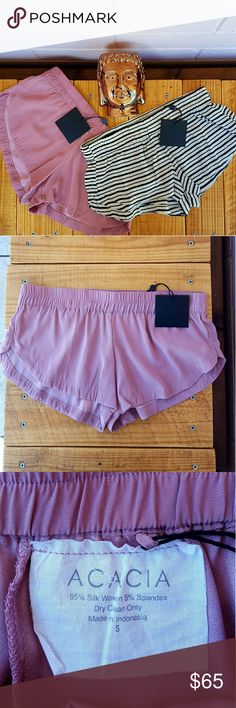 -1 day sale- ACACIA MAKAHA SHORTS *classic in sizes petite(1), small(1), medium(1) & large(1) *orchid in large(2) *95% silk, 5% spandex  *brand new with tags *adorable and super comfortable shorts *perfect shorts for lounging  *comes from a smoke-FREE & pet-FREE home  [If you don't see your size in the color you want, I might be getting more, just leave a comment with the size and color you're interested in] acacia swimwear Shorts