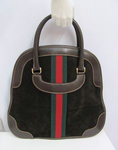 85337de8137 Vintage gucci purse bowling bag style large brown suede leather red green  stripe