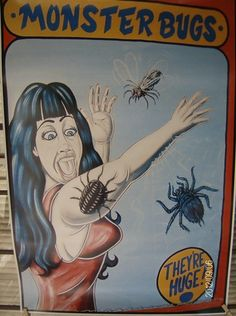 "Sideshow Banner Poster...Carnival Art...FREAK SHOW Display. ""Monster Bugs""... 