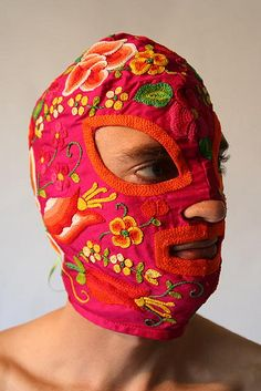 Pink Zapotec mask, hand-made embroidery on shot silk by David Gremard Romero Textiles, Headdress, Headpiece, Art Textile, Masks Art, Fashion Mask, Arte Popular, Mexican Art, Headgear
