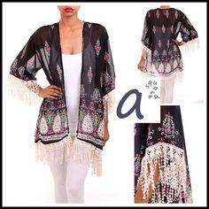 Lace Trimmed sheer kimono