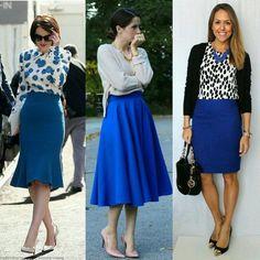Boa noite!! Inspiração de Looks do ig @garimpandodicas, com saias na cor azul bic. Amei! 1) enviesada 2) godê 3) reta Qual você prefere?