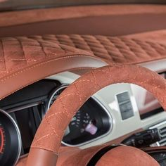 custom car - upholstered dash- board & steering wheel .. design concept adaptable to trucks