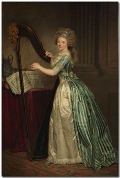Rose-Aselaïde Ducreux (1761-1802) - Autoportrait à la Harpe, v.1791