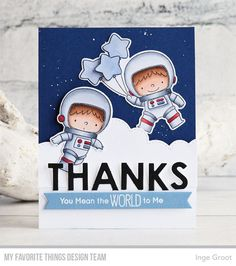 Stamps: BB Space Explorer Die-namics: BB Space Explorer, Pop-Up Alphabet, Stitched Cloud Edges, Essential Fishtail Sentiment Strips  Inge Groot #mftstamps