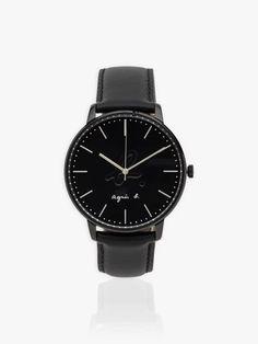 Montre homme bracelet noir en cuir | agnès b. Omega Watch, Watches, Accessories, Beauty, Black Bracelets, Leather, Wristwatches, Clocks, Beauty Illustration