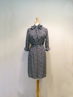 Vintage Navy Star Print Shirtwaist Dress with Ascot Bow Tie