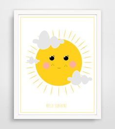 Children's Wall Art / Nursery Decor Hello Sunshine by KZukowski