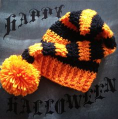 Halloween Striped Crochet Stocking Hat