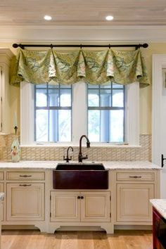 cute valance idea from Buffington Homes South Carolina via Houzz. This is a table runner with curtain clips! smart idea, using a table runner. the possibilities are endless. ;-)