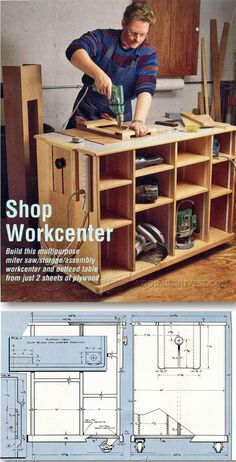 Work Table Plans - Workshop Solutions Projects, Tips and Tricks - Woodwork, Woodworking, Woodworking Plans, Woodworking Projects Garage Workshop Organization, Workshop Storage, Home Workshop, Tool Storage, Garage Storage, Woodworking Jigs, Woodworking Projects, Furniture Projects, Wood Projects