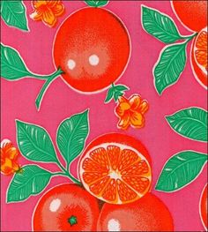 Oilcloth By The Yard - Oranges Pink Oilcloth