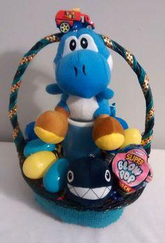 $40 @ebay  SUPER MARIO BLUE YOSHI Chain Chomp EASTER Basket  #SuperMarioBros