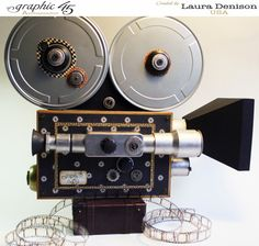 Vintage movie camera by Laura using Communique #graphic45