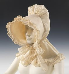 """met-costume: """" Sunbonnet, Costume Institute Medium: cotton Brooklyn Museum Costume Collection at The Metropolitan Museum of Art, Gift of the Brooklyn Museum, Gift of Mrs. Historical Costume, Historical Clothing, Metropolitan Museum, Victorian Fashion, Vintage Fashion, 19th Century Fashion, 17th Century, Costume Collection, Antique Clothing"""