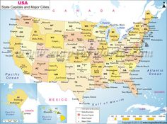 US map shows the 50 states boundary their capital cities along with