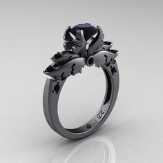 Classic Angel 14K Gray Gold 1.0 Ct Black Moissanite Black Diamond Solitaire Engagement Ring R482-14KGGBDBM