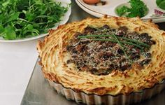 Passover potato and mushroom pie -- vegetarian. Beautiful!