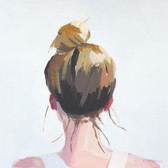 hair painting - top knot 3 - original art